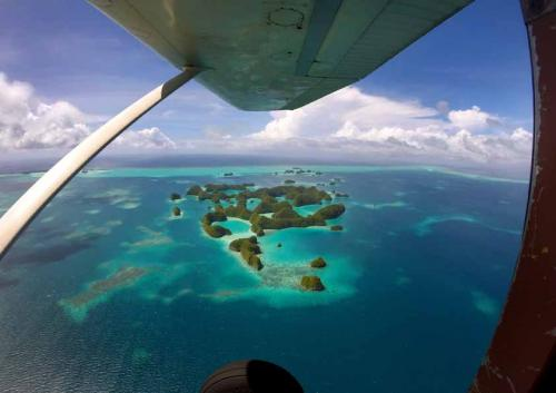 Aerial view of the Rock Islands, Palau, Micronesia, Oceania, Pac
